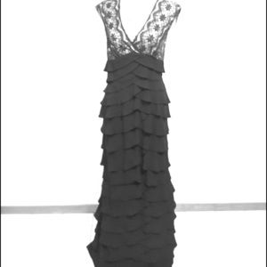 Black Adrianna Papell lace and layered gown